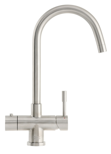 Franke's Minerva Helix 3-in-1 tap in a stainless-steel finish