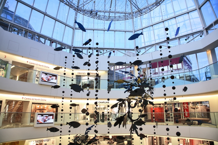 Inside the DCCH with an aerial installation by landscape designer Jinny Blom