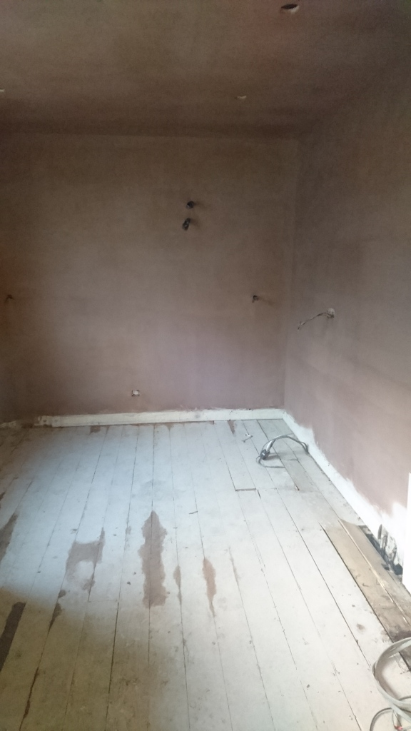 plastered kitchen walls